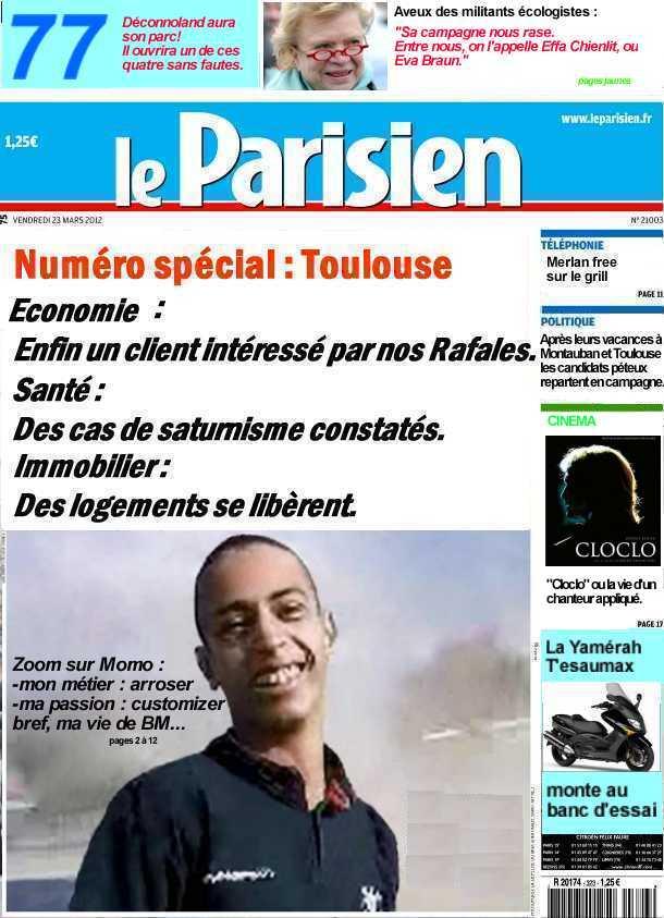 C'est le quatre cent dix septième fafiot! dans la une d'un baveux une-parisien-23-mars-2012
